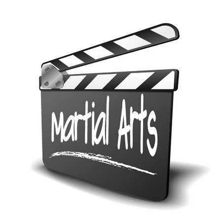 detailed illustration of a clapper board with Martial Arts term, symbol for film and video genre Stock Vector - 29615169