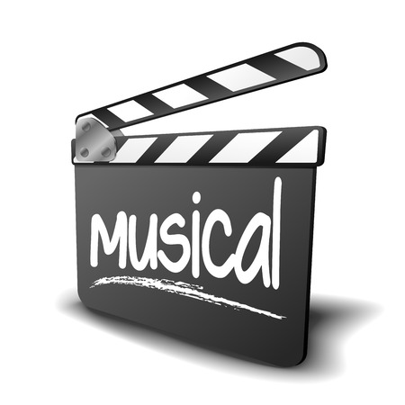 producer: detailed illustration of a clapper board with musical term, symbol for film and video genre