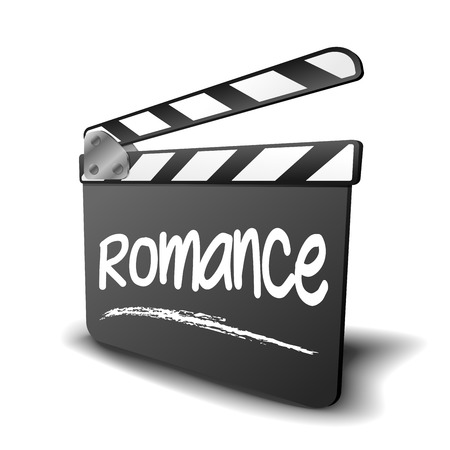 film title: detailed illustration of a clapper board with Romance term, symbol for film and video genre