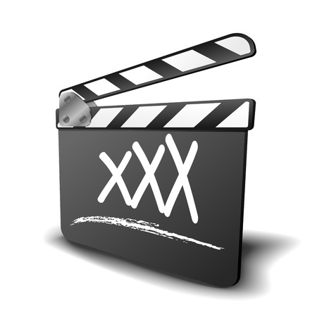 clap: detailed illustration of a clapper board with XXX term, symbol for film and video genre