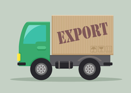 order delivery: detailed illustration of a delivery truck with export label