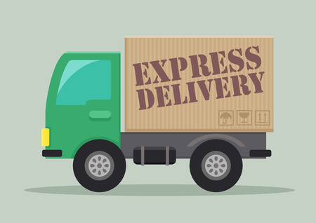express delivery: detailed illustration of a delivery truck with express delivery label Illustration
