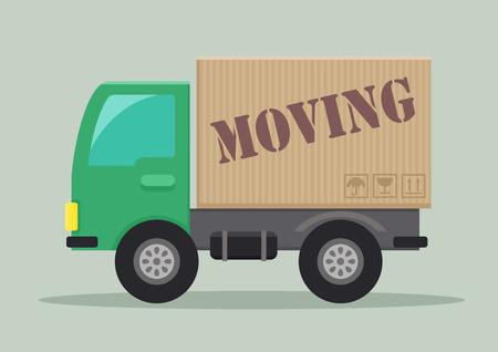 레이블을 움직이는 배달 트럭의 자세한 그림 일러스트
