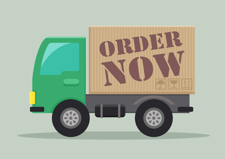 order now: detailed illustration of a delivery truck with order now label