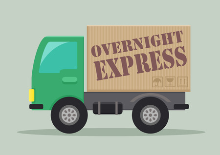 overnight: detailed illustration of a delivery truck with overnight express label