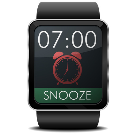 snooze: detailed illustration of a wearable smartwarch with alarm screen Illustration