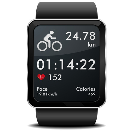 detailed illustration of a smartwarch with fitness app with heart rate monitor, distance and timer Illustration