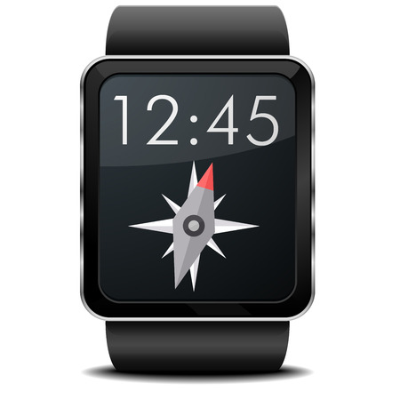 wristwatch: detailed illustration of a wearable smartwarch with Compass screen