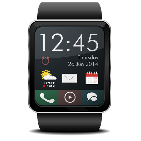 detailed illustration of a wearable smartwarch with home screen