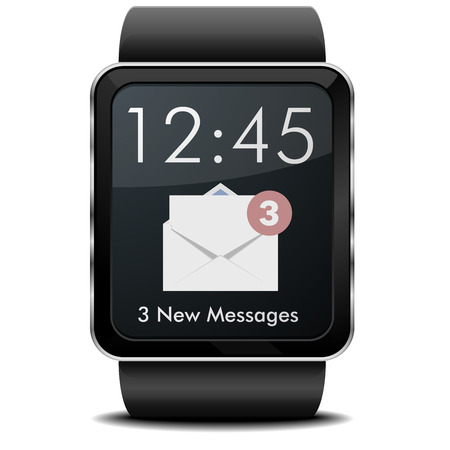 wristwatch: detailed illustration of a wearable smartwarch with Mail screen Illustration