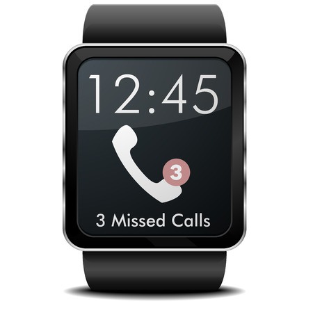 missed: detailed illustration of a wearable smartwarch with missed calls screen