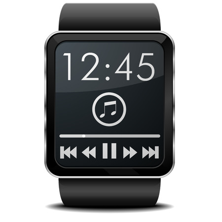 digital clock: detailed illustration of a wearable smartwarch with Music screen