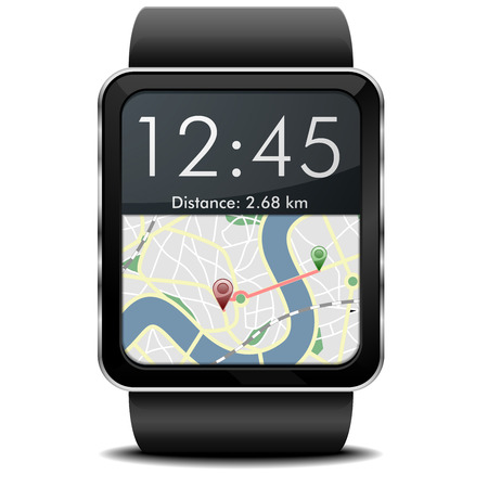 detailed illustration of a wearable smartwarch with a GPS navigation screen Illustration