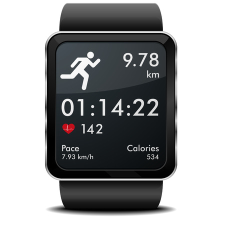 detailed illustration of a smartwarch with fitness app with heart rate monitor, distance and timer, eps10 vector Illustration