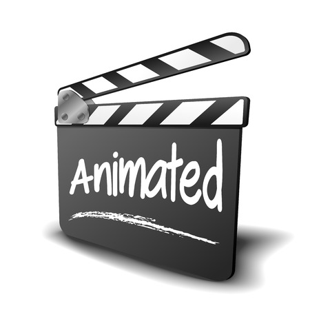 the animated film: detailed illustration of a clapper board with Animated term, symbol for film and video genr  Illustration