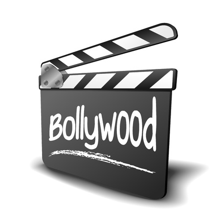 detailed illustration of a clapper board with Bollywood term, symbol for film and video genre  Vector