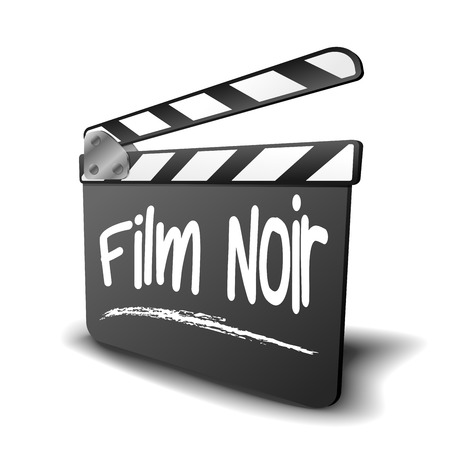 clapper board: detailed illustration of a clapper board with Film Noir term, symbol for film and video genre