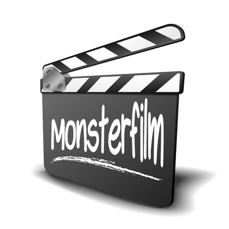 genre: detailed illustration of a clapper board with Monsterfilm term, symbol for film and video genre