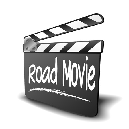 genre: detailed illustration of a clapper board with Road movie term, symbol for film and video genre      Illustration