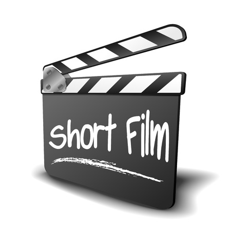 genre: detailed illustration of a clapper board with Short Film term, symbol for film and video genre