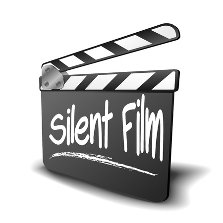 silent film: detailed illustration of a clapper board with Silent Film term, symbol for film and video genre   Illustration
