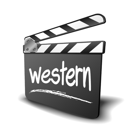 genre: detailed illustration of a clapper board with Western term, symbol for film and video genre