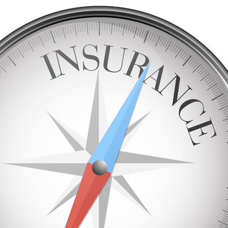 assure: detailed illustration of a compass with insurance text   Illustration