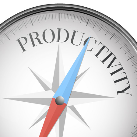productividad: ilustración detallada de una brújula con el texto de la productividad Vectores