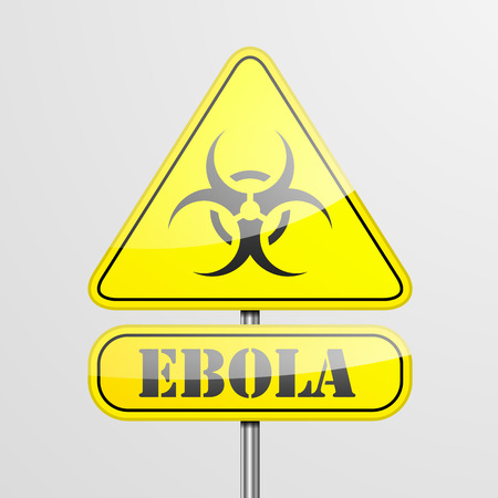 infection prevention: detailed illustration of a ebola warning roadsign  Illustration