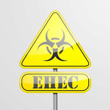 detailed illustration of a yellow EHEC biohazard warning sign