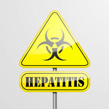 hepatitis prevention: detailed illustration of a yellow Hepatitis biohazard warning sign