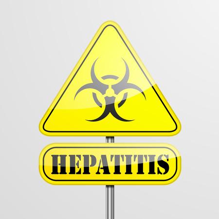 hepatitis a: detailed illustration of a yellow Hepatitis biohazard warning sign