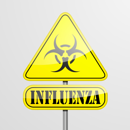 infection prevention: detailed illustration of a yellow influenza biohazard warning sign