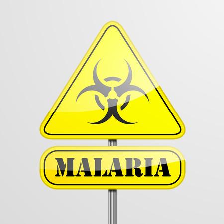 malaria: detailed illustration of a yellow malaria biohazard warning sign