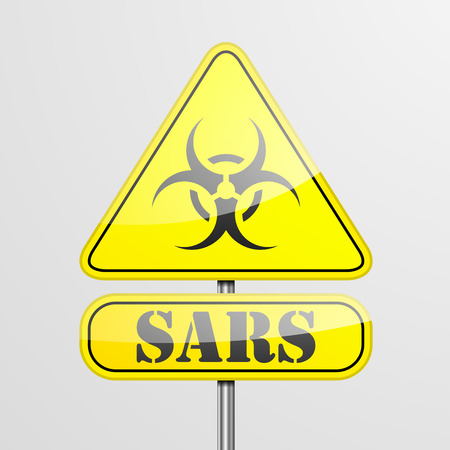 sars: detailed illustration of a yellow sars biohazard warning sign