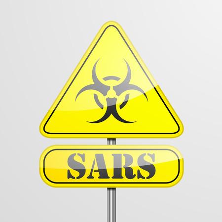 sars: detailed illustration of a yellow sars biohazard warning sign