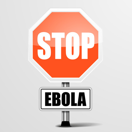 infection prevention: detailed illustration of a red stop ebola sign  Illustration