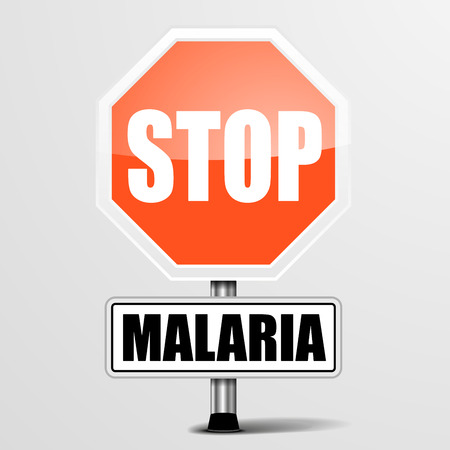 infection prevention: detailed illustration of a red stop Malaria sign