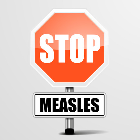pandemic: detailed illustration of a red stop measles sign  Illustration