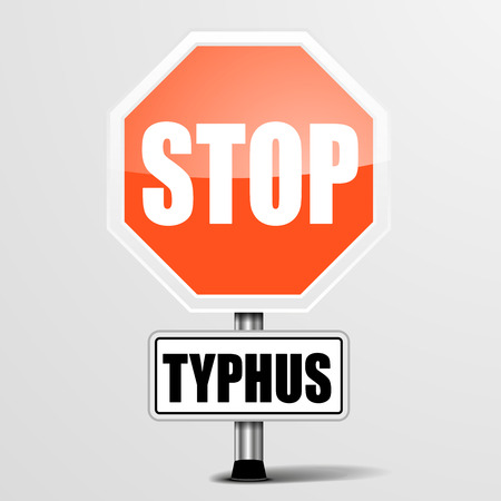 typhus: detailed illustration of a red stop typhus sign  Illustration