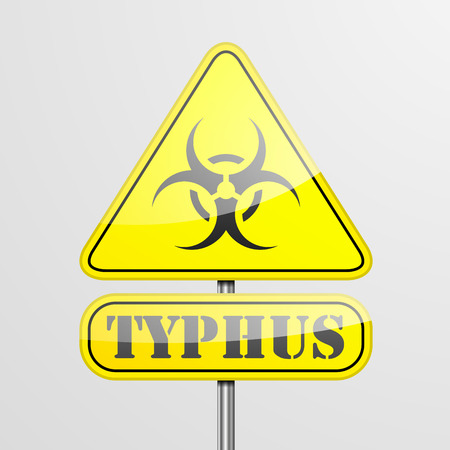 typhus: detailed illustration of a yellow typhus biohazard warning sign  Illustration