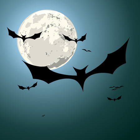 the bloodsucker: detailed illustration of bats in front of a full moon