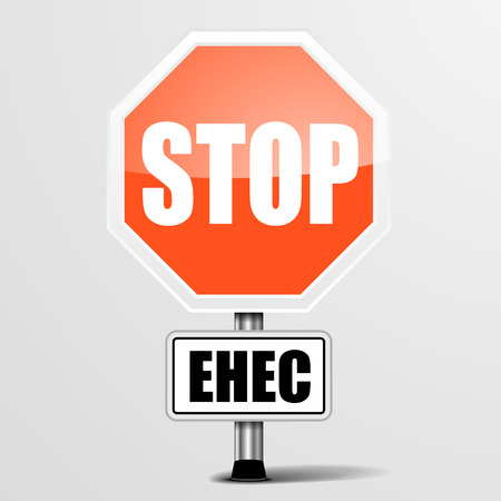 ehec virus: detailed illustration of a red stop ehec sign Illustration
