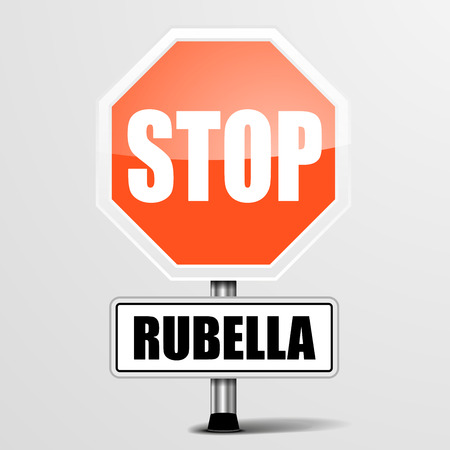 rubella: detailed illustration of a red stop rubella sign