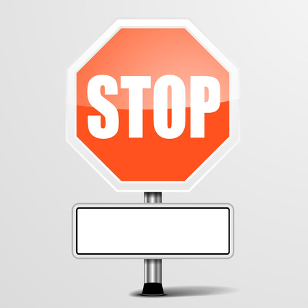 detailed illustration of a red stop sign with a white blank plate Vettoriali