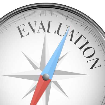 evaluate: detailed illustration of a compass with evaluation text
