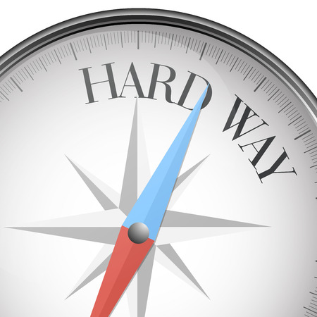 hard way: detailed illustration of a compass with hard way text