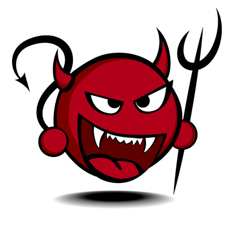 detailed illustration of a stylized red devil with trident