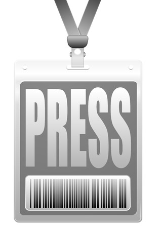 detailed illustration of a plastic press badge with barcode