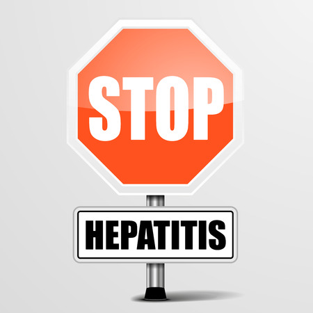 hepatitis prevention: detailed illustration of a red stop hepatitis sign Illustration